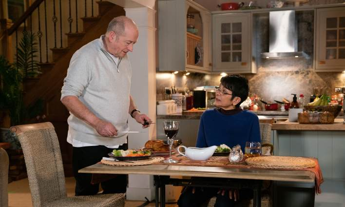 Geoff and Yasmeen at the dining table - Coronation Street - ITV