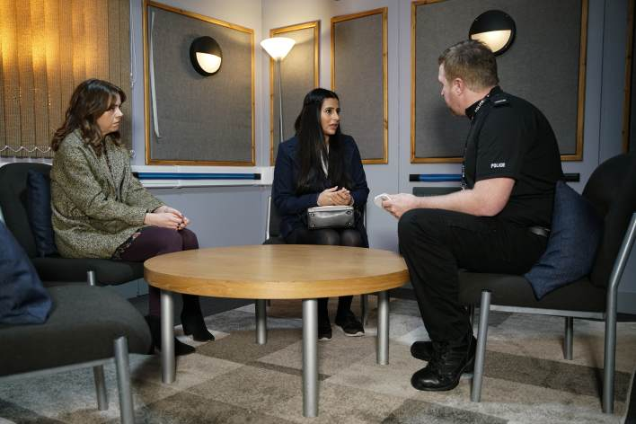 Alya and Toyah at the police station - Coronation Street - ITV