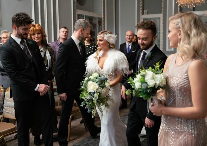 Sarah, Adam, Nick, David and Bethany at the wedding - Coronation Street - ITV