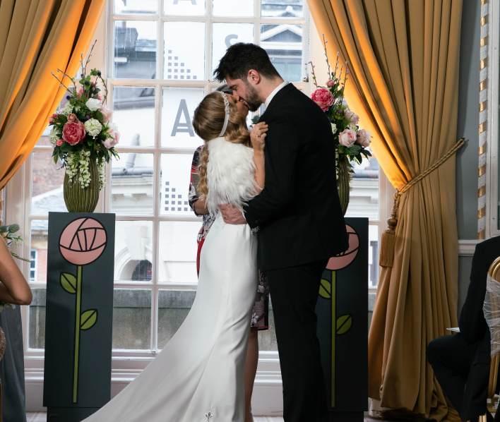 Sarah and Adam at their wedding - Coronation Street - ITV