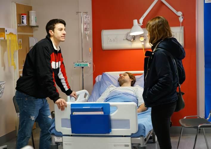 Ryan, Ali and Maria at the hospital - Coronation Street - ITV