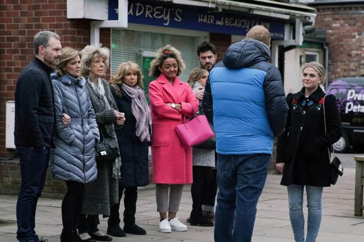 Nick, Leanne, Audrey, Gail, Emma, Sarah, Adam, Craig and Bethany - Coronation Street - ITV