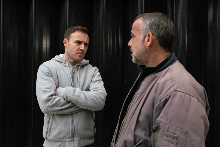 Kevin and Tyrone outside of the garage - Coronation Street - ITV