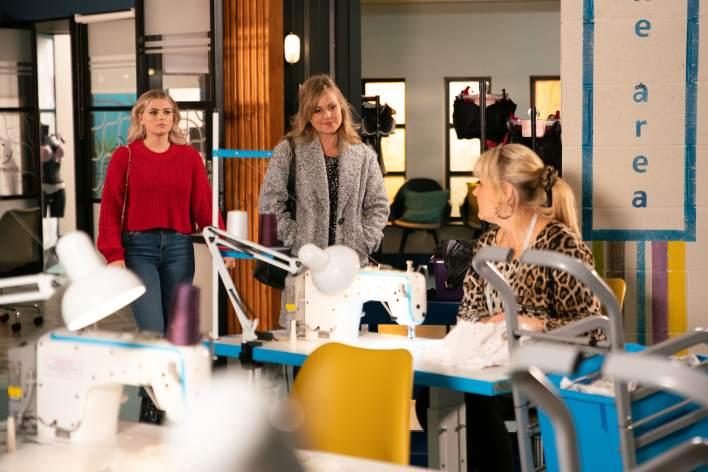 Bethany, Sarah & Beth at the factory - Coronation Street - ITV