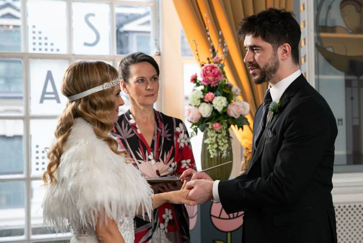 Sarah and Adam exchanging vows - Coronation Street - ITV