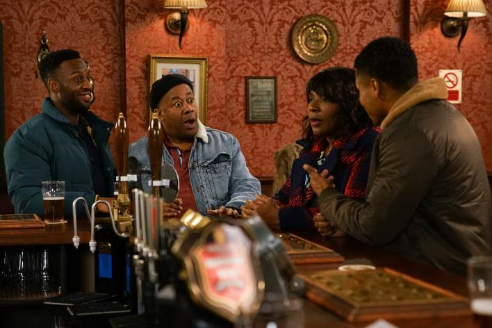 James, Aggie, Ed and Michael in The Rovers - Coronation Street - ITV