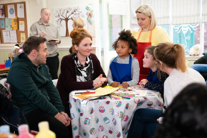 Tyrone, Fiz, Hope and Ruby at a play centre with Jade - Coronation Street - ITV