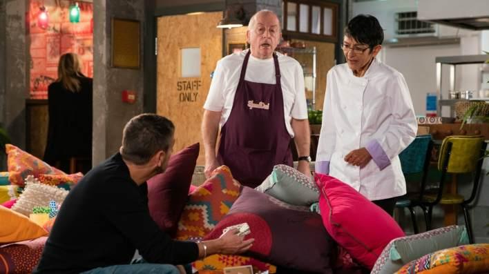 Peter, Geoff and Yasmeen - Coronation Street - ITV