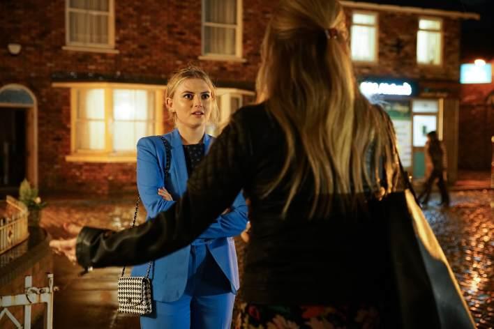 Bethany and Sarah outside the Platt's - Coronation Street - ITV