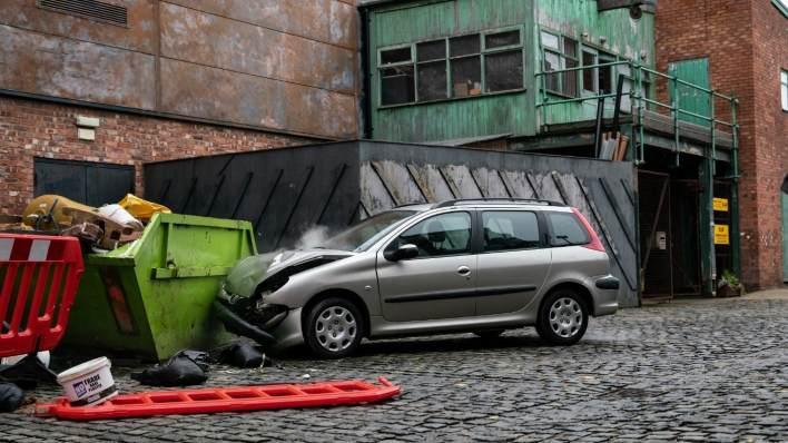 Crashed car - Coronation Street - ITV