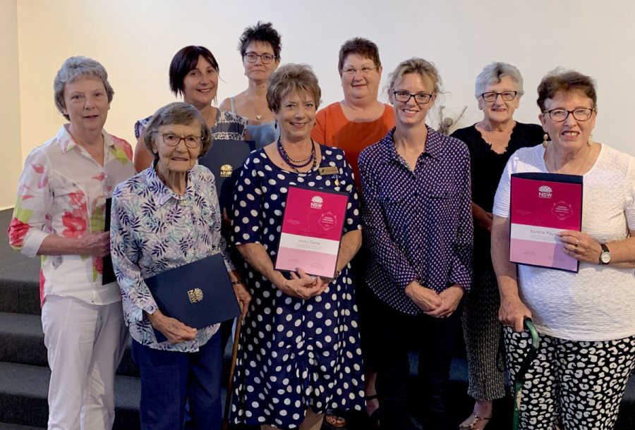 Member for Cootamundra Steph Cooke with previous Hidden Treasures finalists. Photo taken prior to social distancing measures.