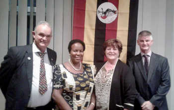 Rotary Club of Boorowa President Alan Banks, Ugandan High Commissioner Her Excellency Prof. Joyce Kikafunda, Rotary Club of Boorowa International Director Elizabeth Muburgh and Hilltops Mayor Brian Ingram.