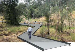 Landscape architects impression of the walkway to be installed at Blackguard Gully