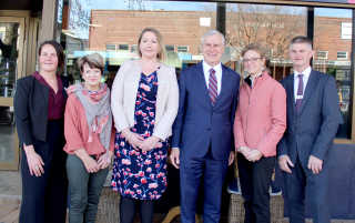 Jenna Roberts, Wendy Dunk, Melissa Neal, Deputy PM Michale McCormack, MP Steph Cooke and Mayor Brian Ingram at the LifeSpan launch in Young.