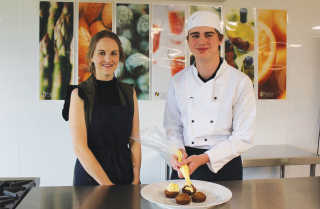 Boorowa Central School student Malcolm Porritt together with Hospitality teacher Miss Williams are showcasing at the Royal Easter Show.