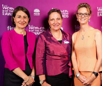 Member for Cootamundra Steph Cooke with Dr Louise Baker, winner of the Rex Airlines Regional Woman of the Year Award at the 2019 NSW Women of the Year Awards and NSW Premier Gladys Berejiklian.