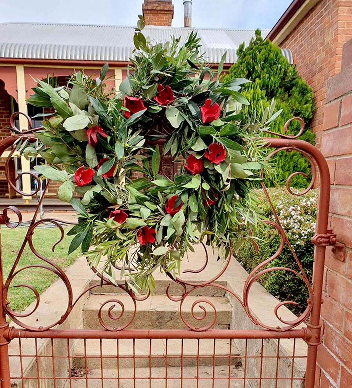 Harden driveway service organiser Erica Glover's wreath.