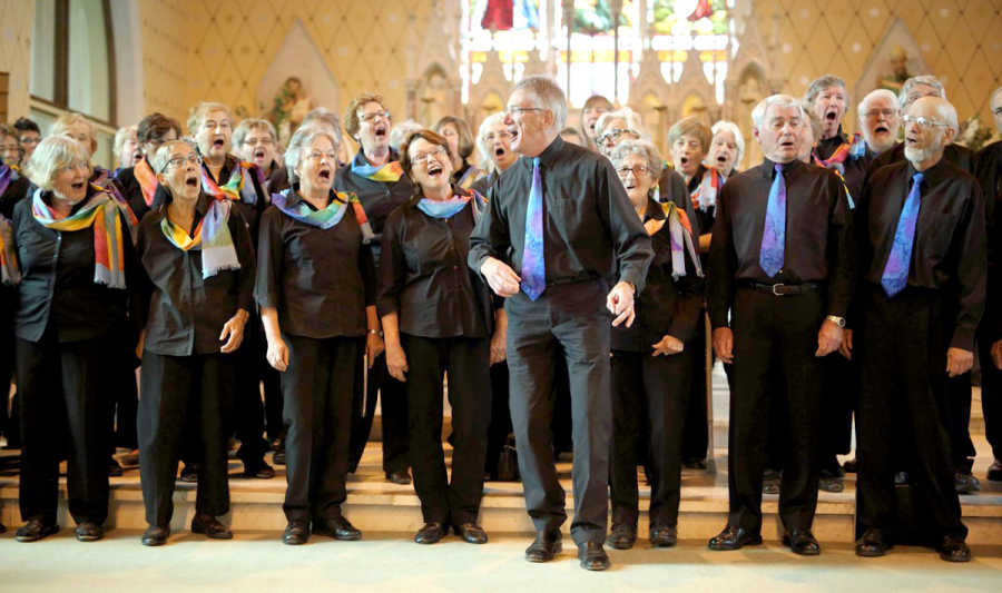 Brian Triglone leads the Gospel Folk Choir in one their items at last year's Songs of Hope concert. The popular choir will be appearing again this year.