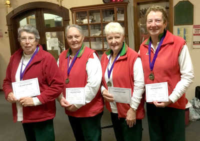 The winning South West District Senior Fours team. L to R Margaret Gailey, Elsie Hines, Heather Bailey and Judith Mulligan.