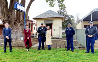 Hilltops Mayor Cr Brian Ingram, Steph Cooke MP, Senior Constable Andrew Campbell and his partner Savannah Sissons, acting Hume Commander Superintendent Condon and Inspector Reeves at Koorawatha Police Station