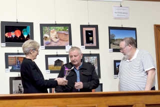 Margaret Roles, Michael Rhodes and Alan Salmon at last year's exhibition.