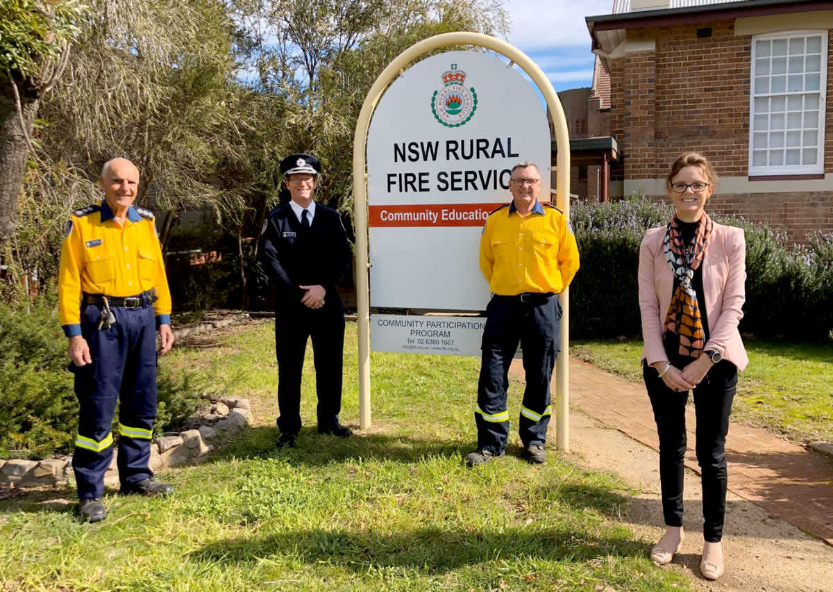 Group Captain Phillip Baer, APM, AFSM, Super-intendent Andrew Dillon, Group Captain Peter Holding, AFSM and Member for Cootamundra Steph Cooke.