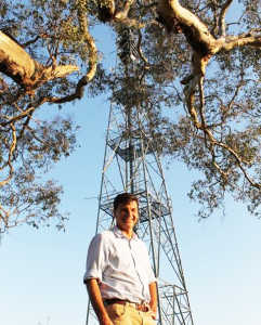 Angus Taylor at a mobile base station.