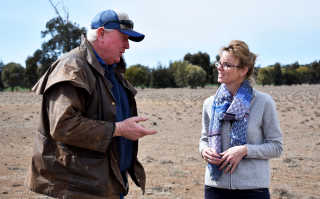 Barmedman farmer John Minogue and Steph Cooke MP. Photo taken before social distancing measures.