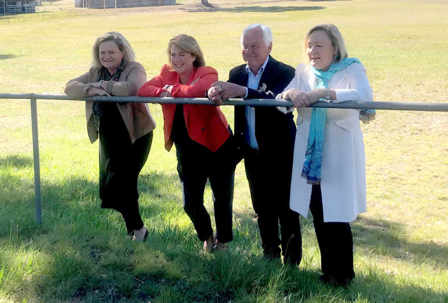 Member for Goulburn Wendy Tuckerman, Minister for Water, Property and Housing Melinda Pavey, Upper Lachlan Shire Mayor John Stafford and Yass Valley Mayor Rowena Abbey at Jerrawa Showground. Photo taken prior to social distancing measures.