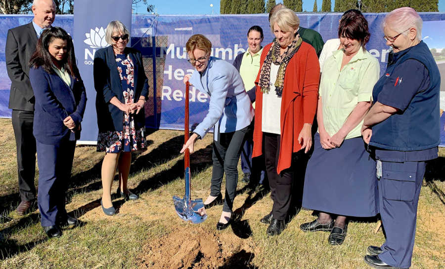 Member for Cootamundra Steph Cooke turns the first sod to mark construction of the new Murrumburrah-Harden Health Service.