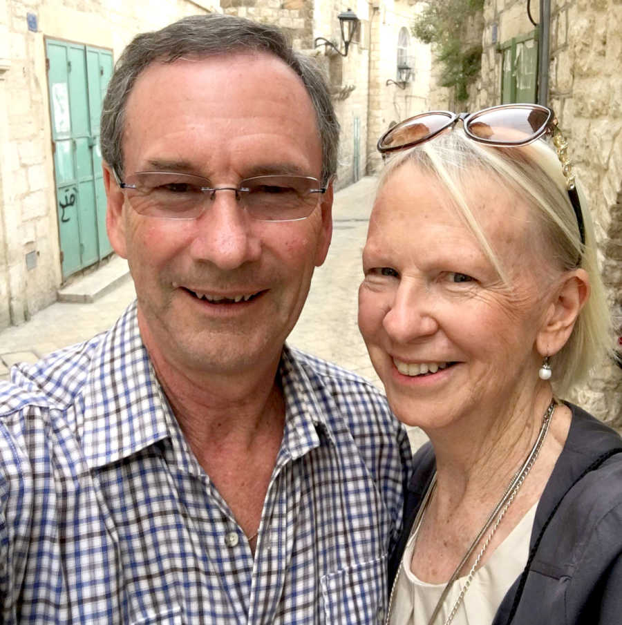 Sue and Geoff Orchison in Star Street, Bethlehem on the way to Manger Square.