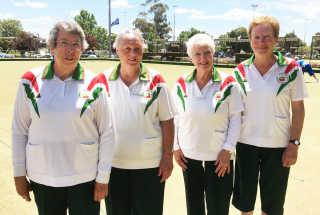 Regional Senior Fours winners from the Young Club. L to R: Margaret Gailey (skip), Elsie Hines (third), Heather Bailey (second) and Judith Mulligan (lead).