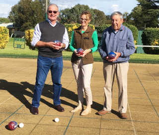 Member for Cootamundra Steph Cooke at Young Bowling Club with Club Chairman Stuart Freudenstein and Club Secretary Cliff Traynor.