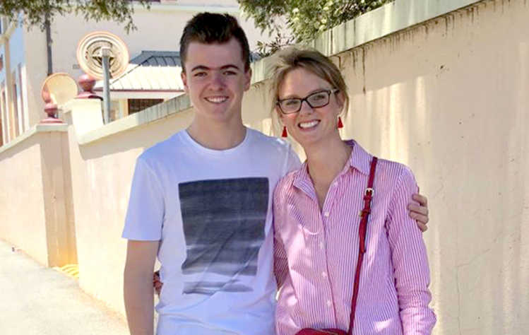 Young local singer songwriter Harry Cleverdon and Member for Cootamundra Steph Cooke. Photo taken prior to social distancing measures.