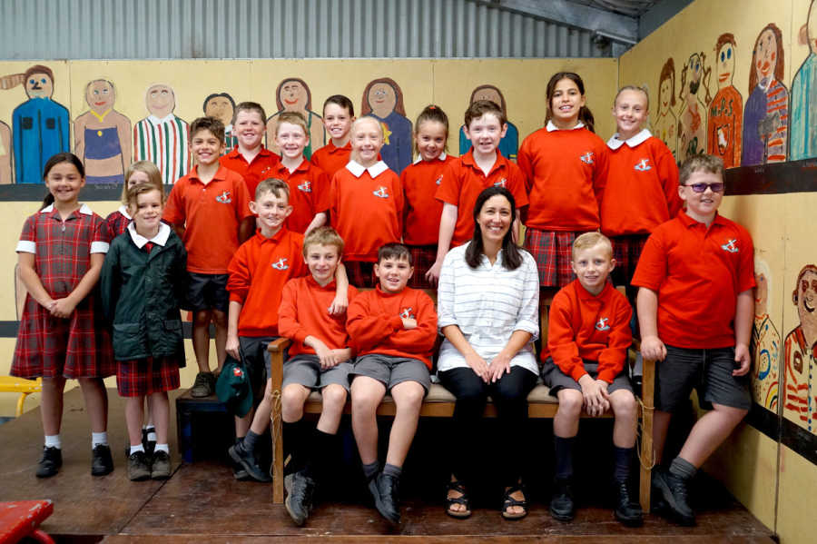 Carol Maciver with the Year 3 and 4 class.