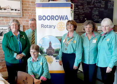 New Board for 2020-2021. From left: Jayne Apps (Service), Mike Ward (President Elect), PP Ingrid Corcoran (Membership/Public Image), President Ilze Myburgh, Sina Banks (Treasurer) and Jenny Carter (Secretary). Absent: Sharon Meere (Administrative), Stephen Meere (Rotary Foundation/International) and Chris Carter (Youth).