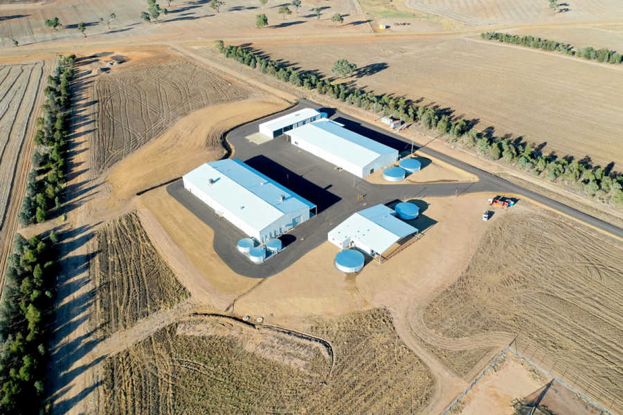 Purpose built workshops and storage facilities at the Boorowa Agriculture Research Station.