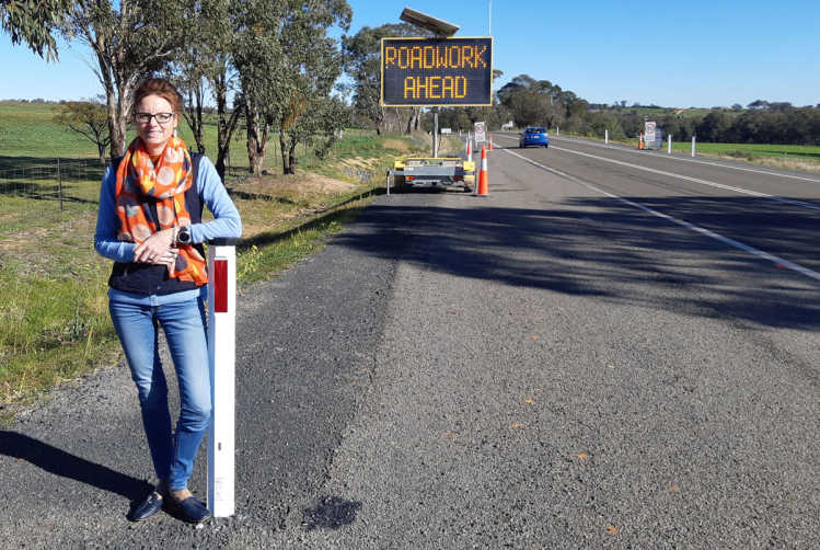 Member for Cootamundra Steph Cooke on the Olympic Highway.