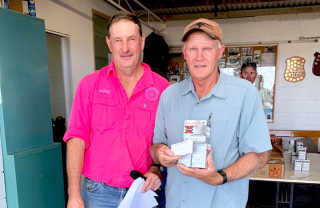 Geoffrey Mason and Handicap event winner Kruno Luketic at Boorowa Gun Club's last shoot in February.