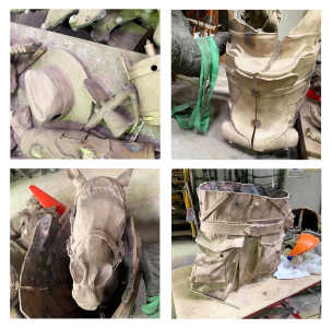 Hats, straps and canteen (top left) Partially completed saddle (top right) Bill (bottom left) Cast portion of soldier (bottom right).