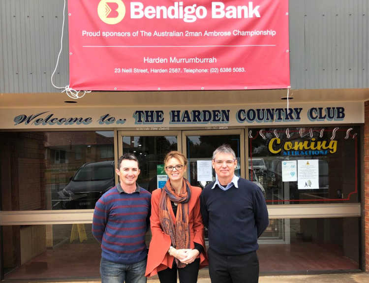 Harden Country Club board member James Cantrill, Member for Cootamundra Steph Cooke and General Manager Chris Longbottom.