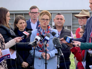 Member for Cootamundra Steph Cooke is joined by Premier Gladys Berejiklian, Treasurer Dominic Perrottet, Deputy Premier John Barilaro and Agriculture Minister Adam Marshall.
