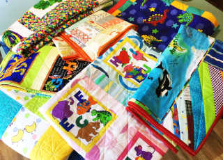 A selection of quilts made by Archie's Army.