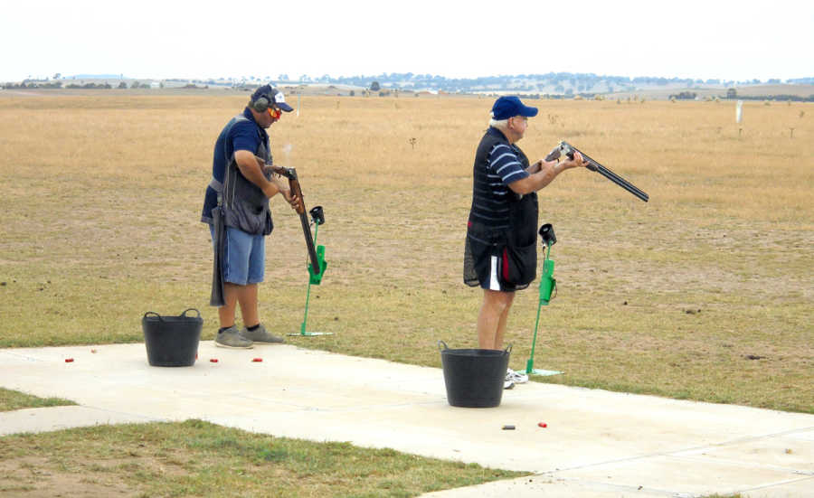 Glenn and Col shooting off in the double barrel event
