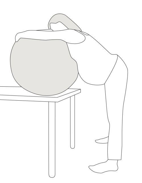 Illustration von stehender oder nach vorne gelehnter Geburtsposition