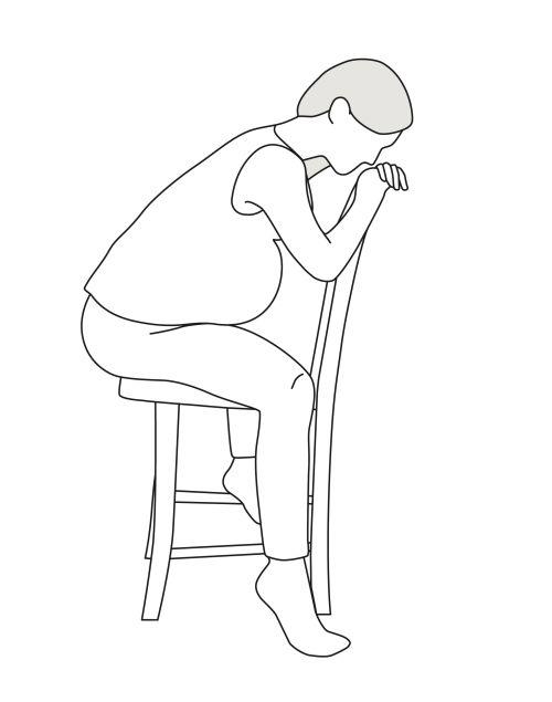 Illustration Sitzende Geburtsposition
