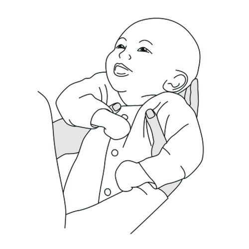 Illustration eines lächelnden Babys, das gerade hochgehoben wird.