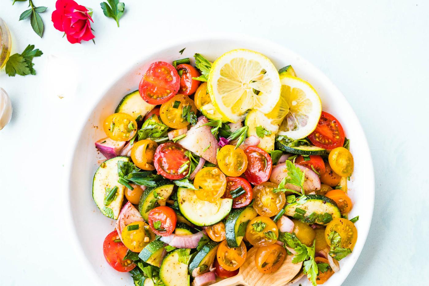 Lettuce Grow   Three Herb Tomato & Zucchini Salad