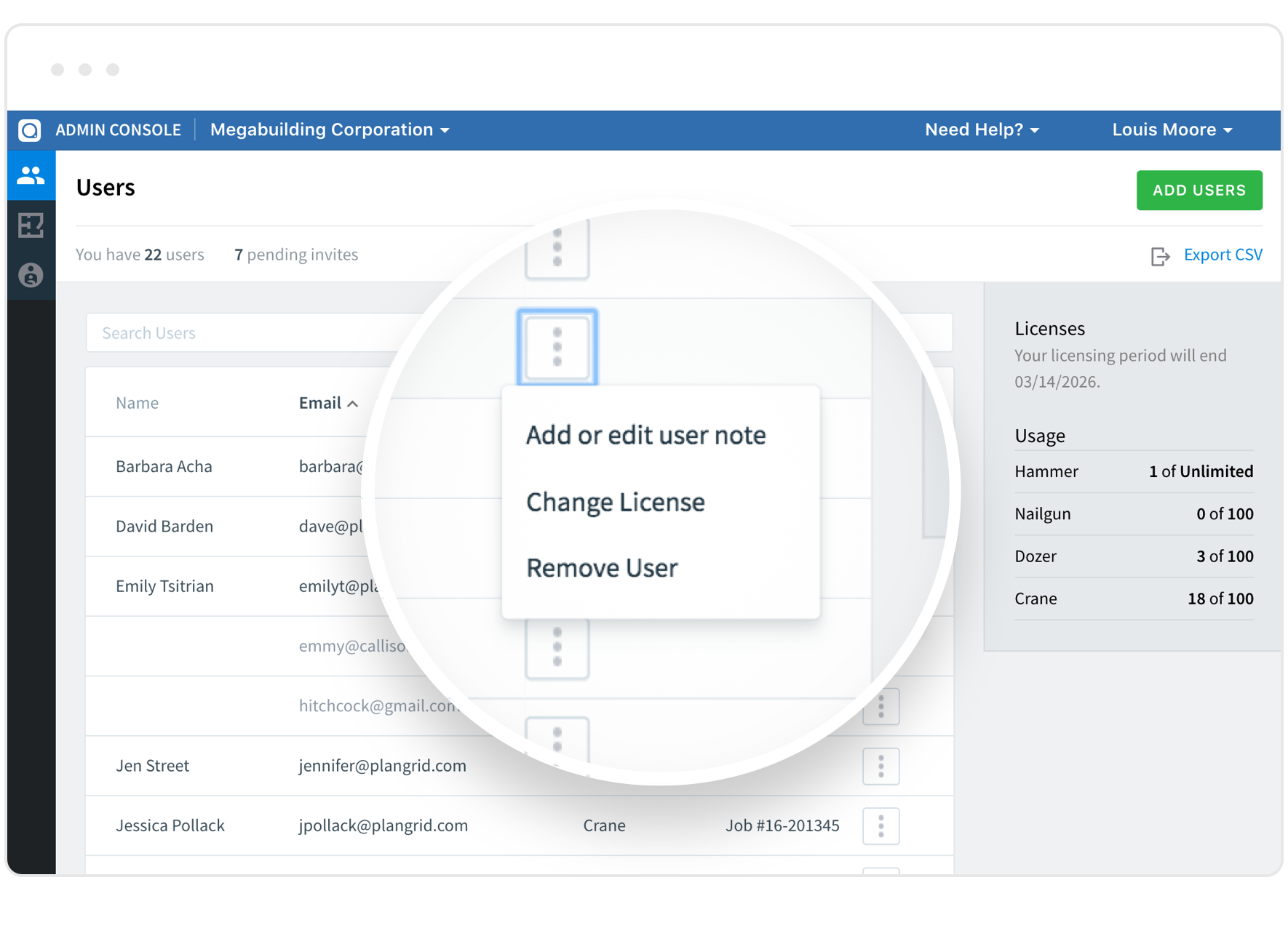 PlanGrid admin control for project team management