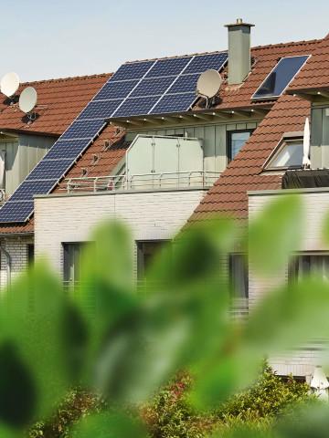 Haeuser mit Solaranlage